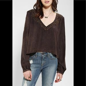 Urban Outfitters brand long open sleeve crop top